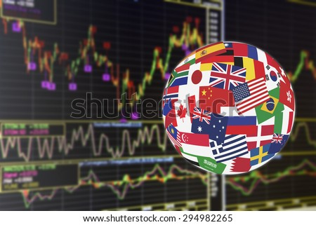 Flags globe over the display of daily stock market chart of financial instruments for technical analysis. Global stock market investment concept. - stock photo