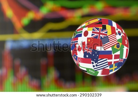 Flags globe over the display of daily stock market charts of financial instruments for technical analysis including price and volume analysis. Global stock market investment concept. - stock photo