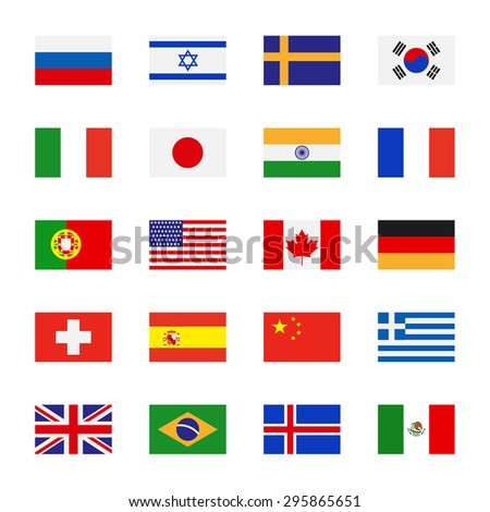 Flags icons in flat style. Simple flags of the countries - stock photo