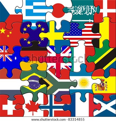 Flags in a square jigsaw - stock photo