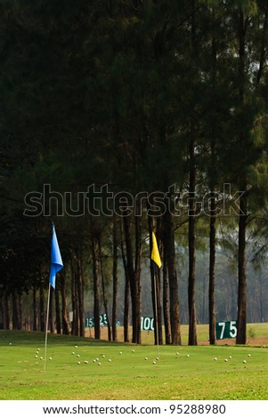 Flags in golf driving range
