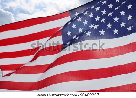 Flags in memorial park - stock photo
