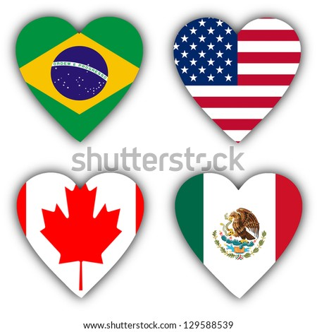 Flags in the shape of a heart, 4 different countries - stock photo
