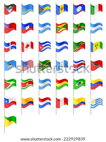 flags North and South Americas countries illustration isolated on white background - stock photo