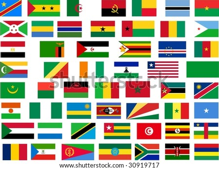 Flags of all Africa countries. Illustration over white background