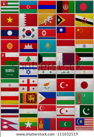 Flags of all Asian countries on a sackcloth background