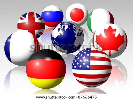 Flags of all G8 group members surrounding Earth / G8 - stock photo
