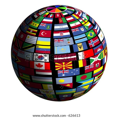 Flags of all nations cover the earth surface. - stock photo