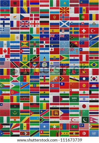 Flags of all World countries on a sackcloth background - stock photo