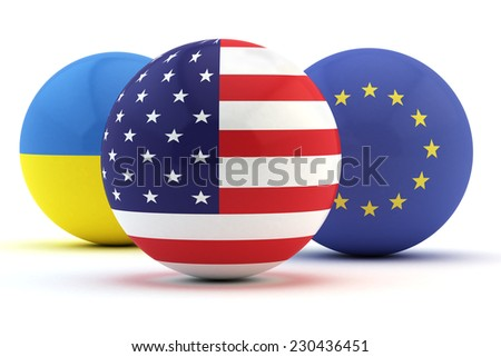 flags of America of Europe and Ukraine applied on spheres (sphere with the American flag in the foreground) - stock photo