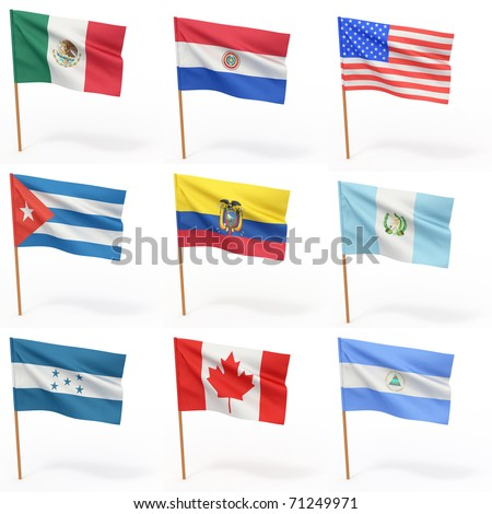 Flags of american country. Collection 4. 3d - stock photo