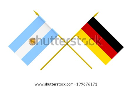 Flags of Argentina and Germany, 3d render, isolated - stock photo