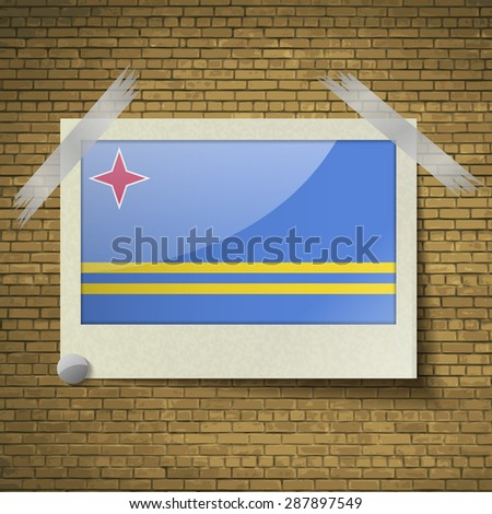 Flags of Aruba at frame on a brick background.  illustration. Rastrized version - stock photo