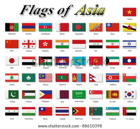 Flags of Asia - stock photo
