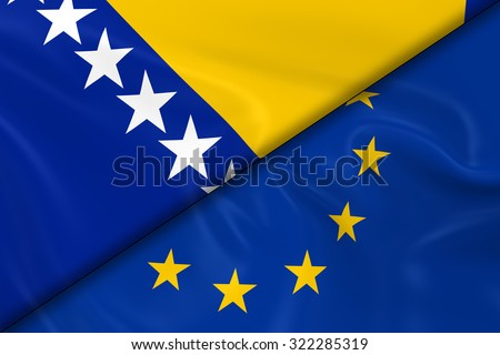 Flags of Bosnia and Herzegovina and the European Union Divided Diagonally - 3D Render of the Bosnian and Herzegovinian Flag and EU Flag with Silky Texture - stock photo
