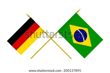 Flags of Brazil and Germany, 3d render, isolated - stock photo