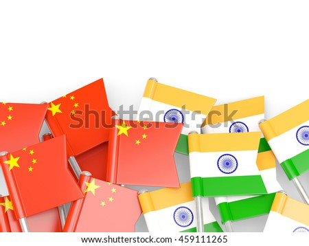 Flags of China and India isolated on white. 3D illustration