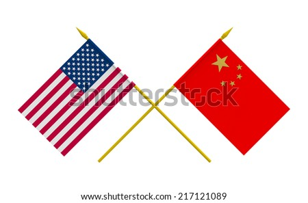 Flags of China and USA, 3d render, isolated