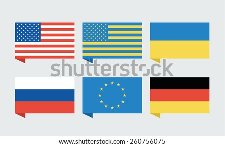 Flags of countries. USA, Ukraine, European Union, Russia and Germany. Illustration - stock photo