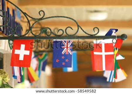 flags of different countries - stock photo