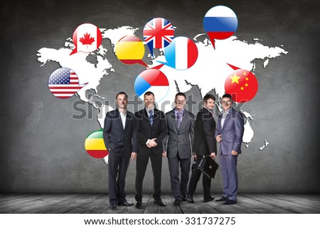 Flags of different countries on the white map. Elements of this image furnished by NASA - stock photo