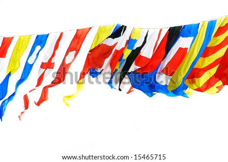 flags of different countries over white - stock photo