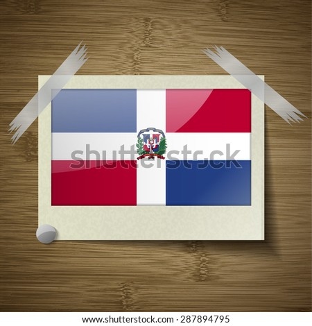 Flags of Dominican Republic at frame on wooden texture.  illustration. Rastrized version - stock photo