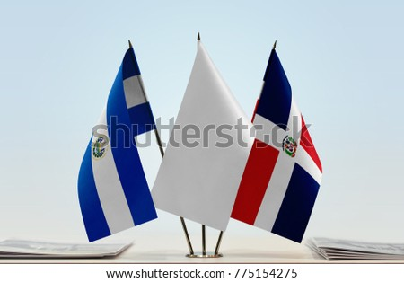 Flags of El Salvador and Dominican Republic with a white flag in the middle