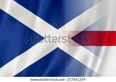 Flags of England & Scotland - stock photo