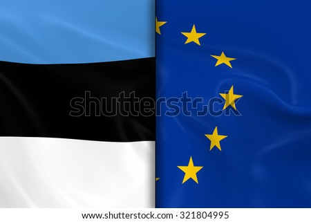 Flags of Estonia and the European Union Split Down the Middle - 3D Render of the Estonian Flag and EU Flag with Silky Texture - stock photo