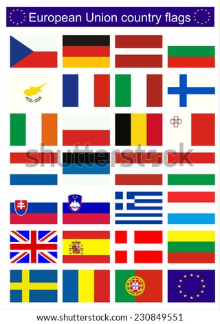 Flags of EU countries - stock photo