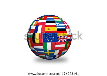 Flags of EU countries on globe sphere ball - stock photo