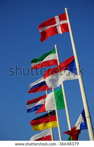 Flags of european countries (Czech flag is wrong (bottom is up :-) - stock photo
