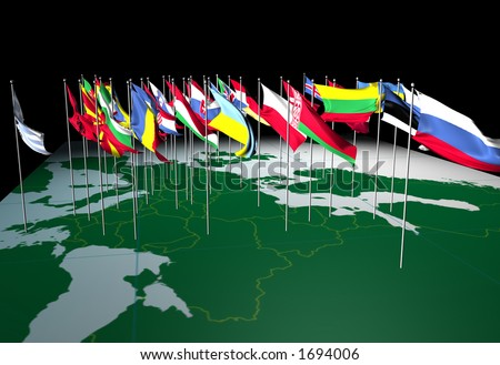 Flags of European countries flying from their capital cities. Viewed from the East. - stock photo
