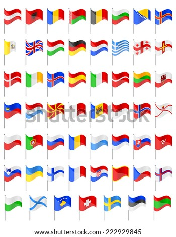flags of European countries illustration isolated on white background - stock photo