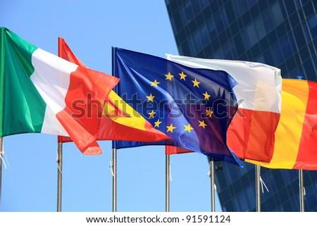 Flags of European Union countries. - stock photo