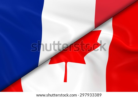 Flags of France and Canada Divided Diagonally - 3D Render of the French Flag and Canadian Flag with Silky Texture - stock photo