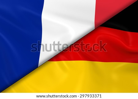 Flags of France and Germany Divided Diagonally - 3D Render of the French Flag and German Flag with Silky Texture - stock photo