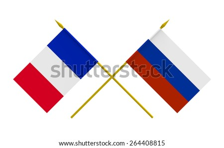 Flags of France and Russia, 3d render, isolated - stock photo