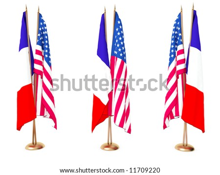 flags of France and the United State isolated white