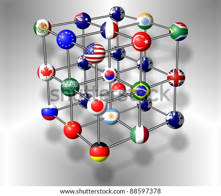 Flags of G20 group members connected as a molecule / G20 molecule - stock photo