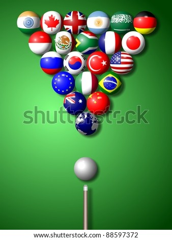 Flags of G20 group members shaped and set as pool balls / G20 billiard - stock photo