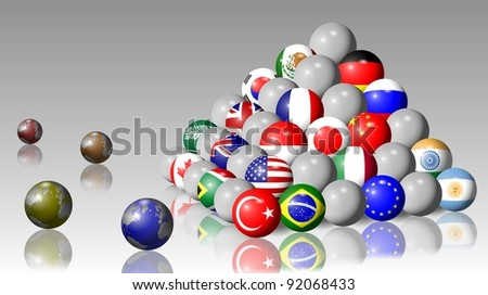 Flags of G20 members shaped as balls and forming a pyramid / G20 pyramid - stock photo