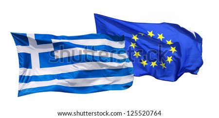 Flags of Greece and EU, isolated on white background