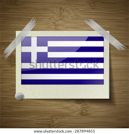Flags of Greece at frame on wooden texture.  illustration. Rastrized version - stock photo