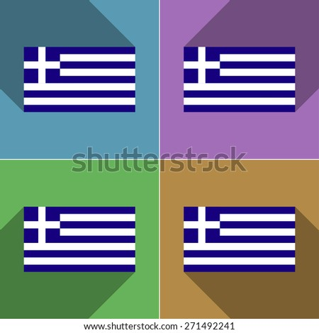 Flags of Greece. Set of colors flat design and long shadows.  illustration - stock photo