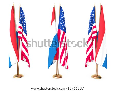 flags of Holland and the United State isolated white