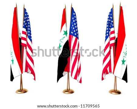 flags of  Iraq and the United State isolated white