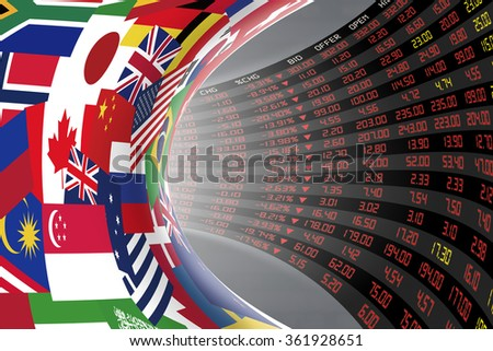 Flags of main countries in the world with a display of daily stock market price and quotations during economic recession period. The fate and mystery of world stock market, tunnel/corridor concept. - stock photo