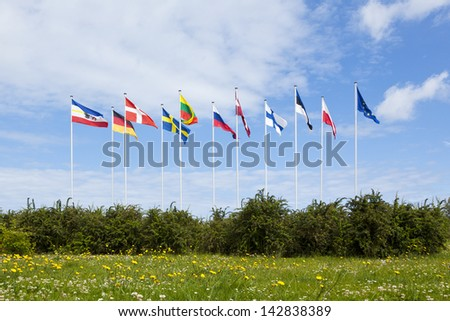 Flags of Mecklenburg-Western Pomerania, the countries at the baltic sea and Europe